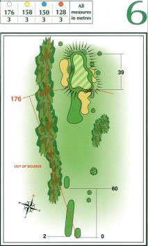 Map of Hole 6 on the Championship Course at Penina Golf Resort