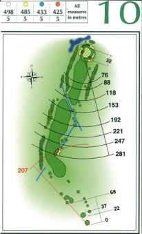 Map of Hole 10 on the Championship Course at Penina Golf Resort