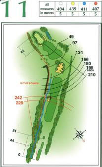 Map of Hole 11 on the Championship Course at Penina Golf Resort