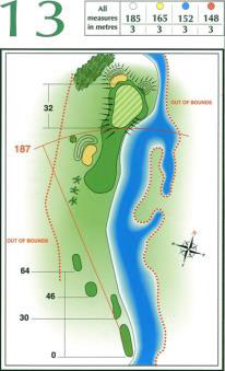 Map of Hole 13 on the Championship Course at Penina Golf Resort