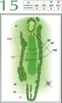 Map of Hole 15 on the Championship Course at Penina Golf Resort
