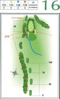 Map of Hole 16 on the Championship Course at Penina Golf Resort